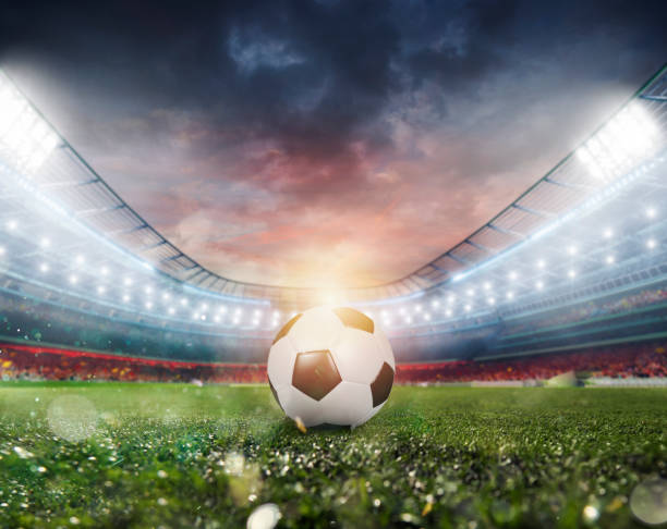 Soccerball at the stadium ready for match stock photo