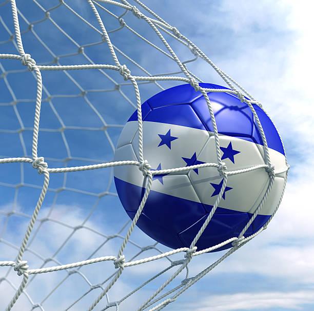 soccerball en net - bandera de honduras fotografías e imágenes de stock