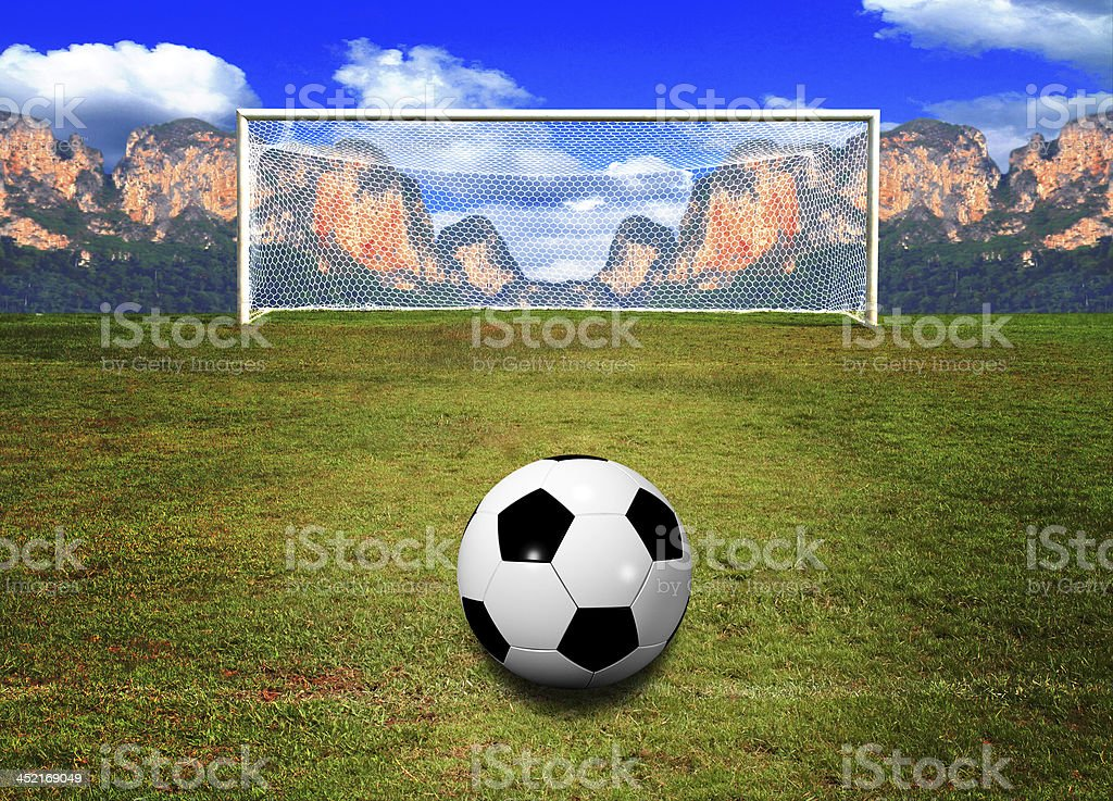 soccerball in soccer field on Mountain and sky royalty-free stock photo