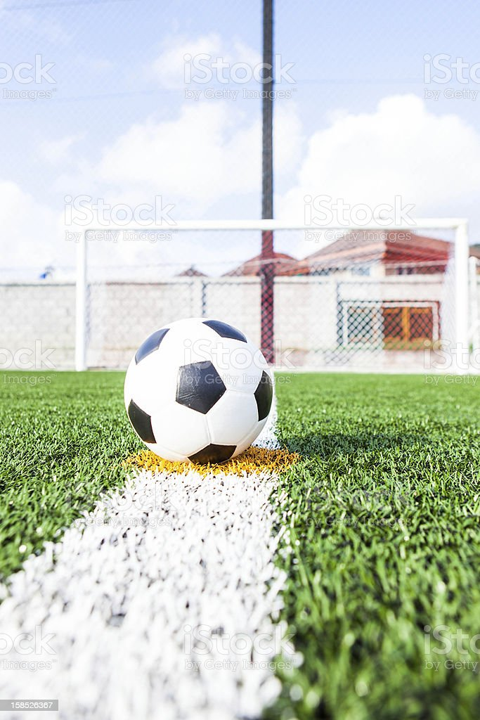 Soccerball in the soccer field royalty-free stock photo