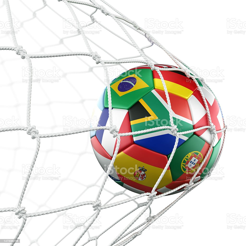 Soccerball with flags in net royalty-free stock photo