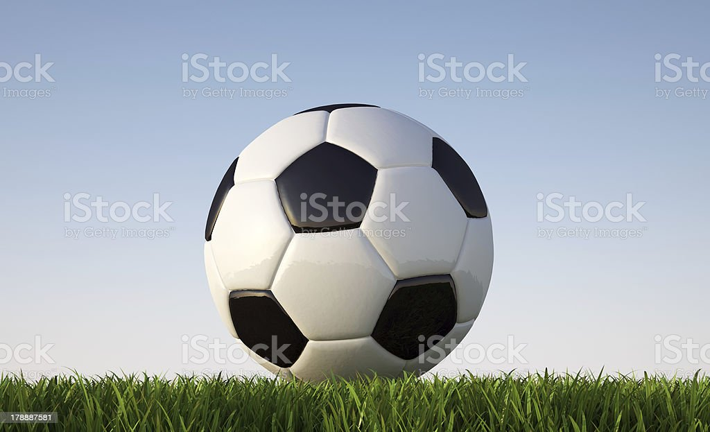 Soccer/football  ball close-up on grass lawn, clipping path included.. royalty-free stock photo