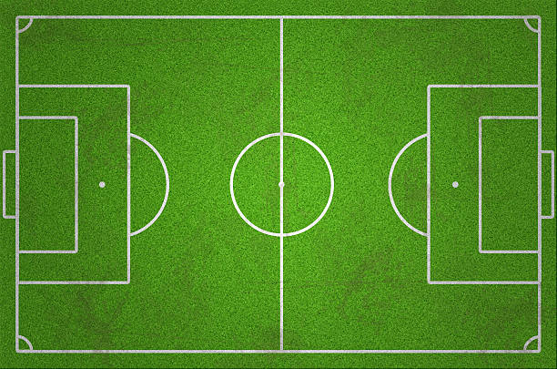 soccer/football field with grass and dirt - soccer field stock photos and pictures