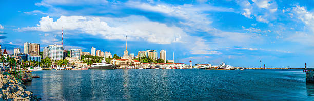 Sochi cloud summer city buildings sea black russia urban panoram The city of Sochi a beautiful landscape with a townscape sochi stock pictures, royalty-free photos & images