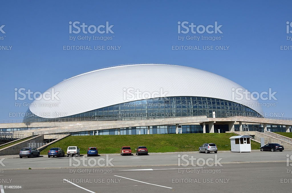 Sochi, Russia, cars near Bolshoi ice Palace in Olimpic park stock photo