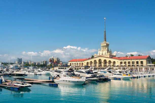 Sochi sea port. Commercial seaport of Sochi, Russia. Yachts and ships on Black Sea. sochi stock pictures, royalty-free photos & images