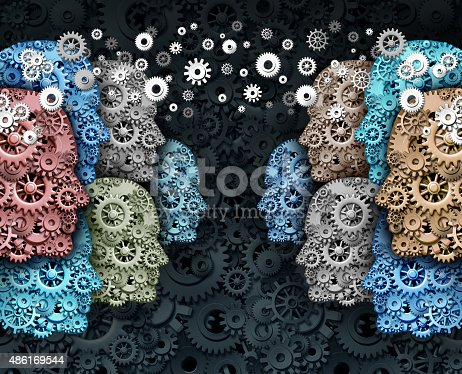 Social business and crowd media internet communication marketing web concept as a group of people made of gears and cogs in a global network connected for a strong cooperation and society technology.