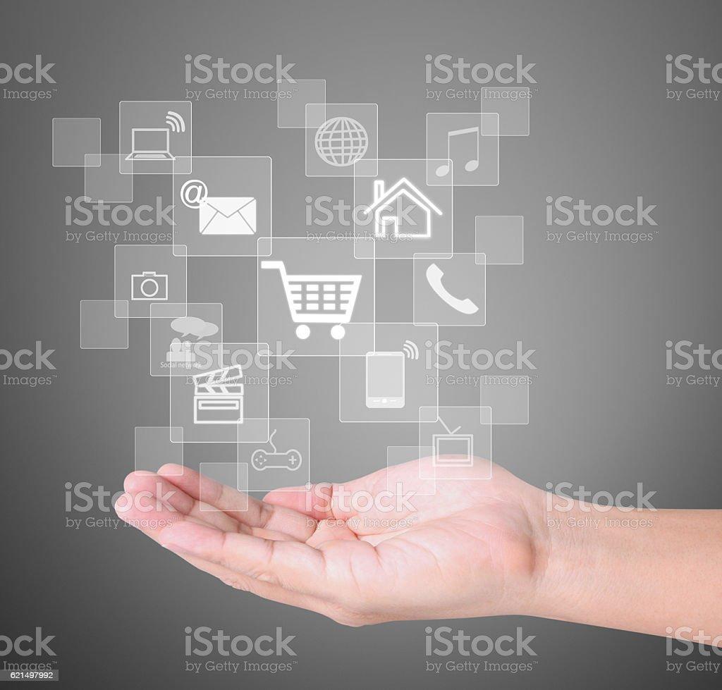 Sociale pulsanti in mano foto stock royalty-free