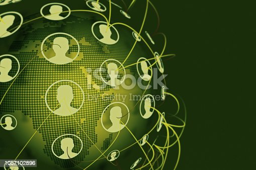 istock Social Connection Network on World Map 1057102896