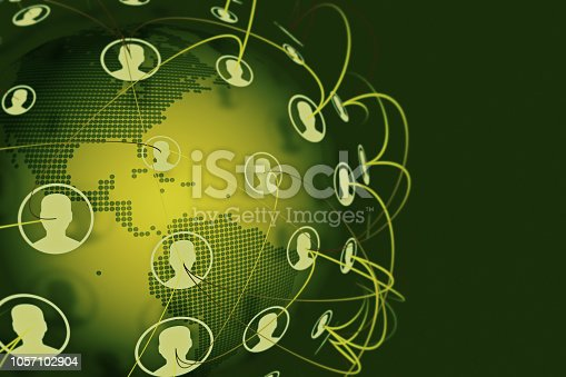 811259350istockphoto Social Connection Network on World Map 1057102904
