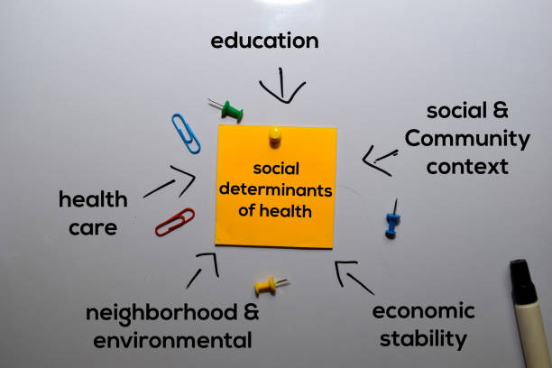 Social Determinants of Health Method text with keywords isolated on white board background. Chart or mechanism concept. stock photo