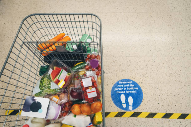 Social Distance Sign at Supermarket stock photo