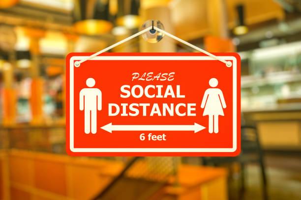 Social Distance Sign, Coronavirus, new normal concept - foto stock