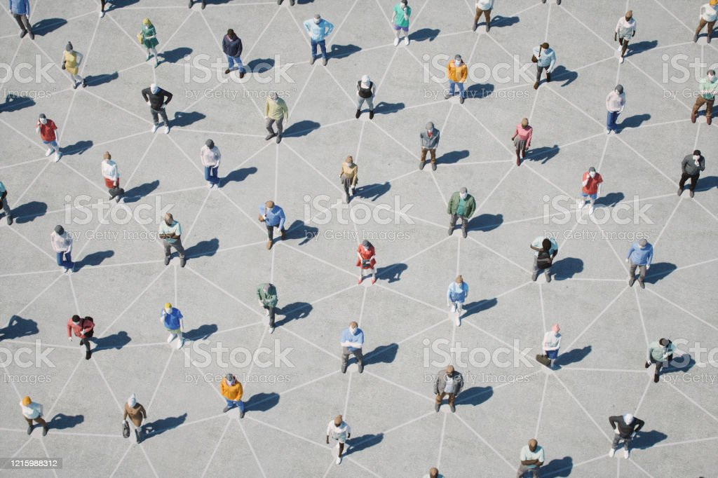 Social Distancing And Networking 3d low-poly people at street with connections. Adult Stock Photo