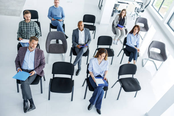 Social distancing at board room! stock photo