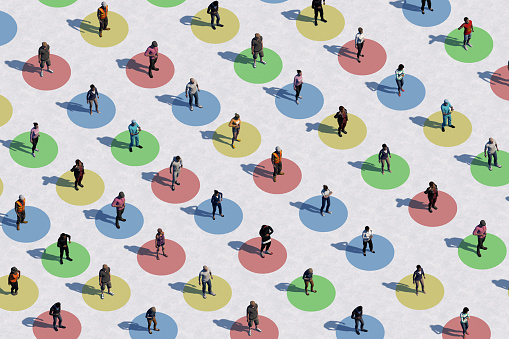 Social distancing concept with many people - Aerial view