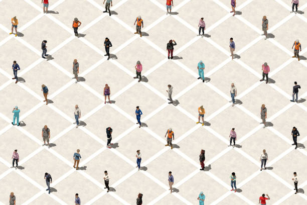 Social distancing concept with many people - Aerial view stock photo