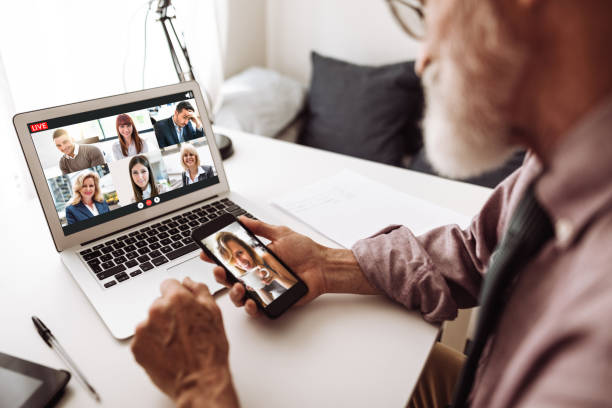social distancing family doing a voice ip phone call - family gatherings stock pictures, royalty-free photos & images