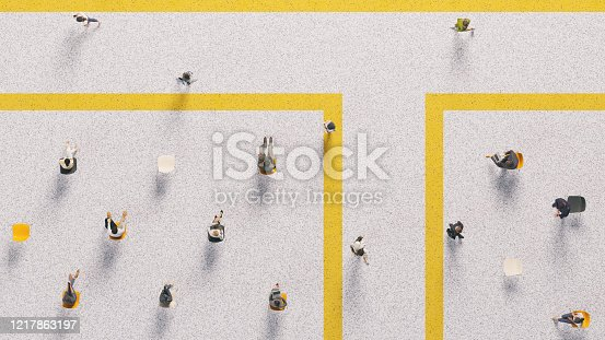 High angle view of people in a public area, following social distancing rules. All elements in the scene are 3D