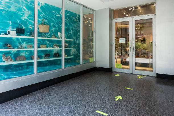 Social distancing markers on Lincoln Road Mall in Miami Beach stock photo