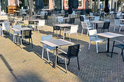 Social distancing terrace during coronavirus restrictions
