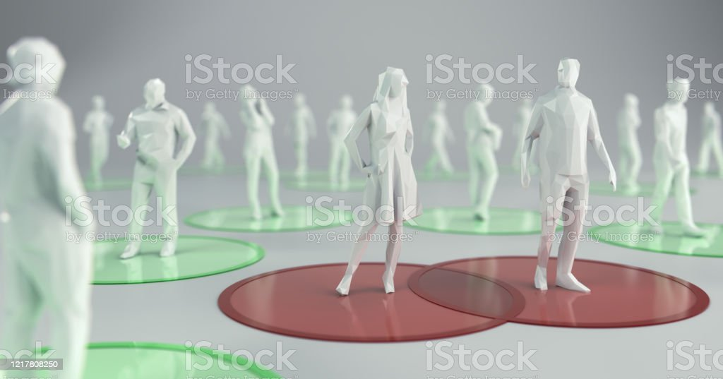 Social Distancing to Flatten the Curve. 3d Illustration - Royalty-free Boundary Stock Photo