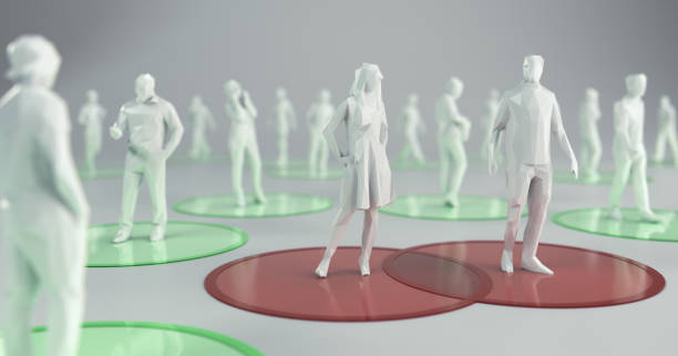 Social Distancing to Flatten the Curve. 3d Illustration stock photo
