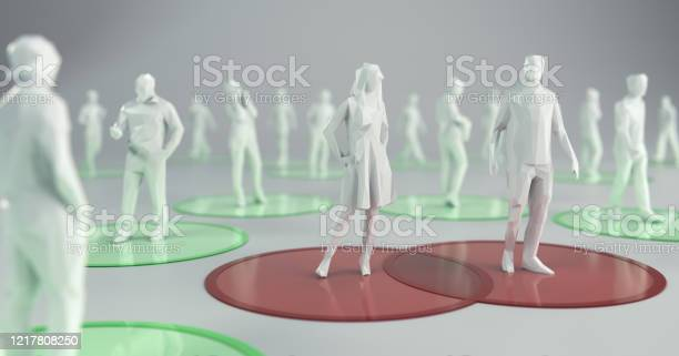 Social Distancing To Flatten The Curve 3d Illustration Stock Photo - Download Image Now