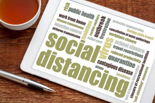 social distancing word cloud on tablet - social distancing stock pictures, royalty-free photos & images