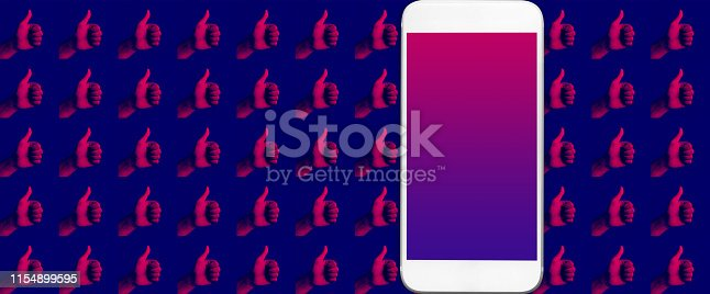 693589426 istock photo Social engagement result concepts with a lot thumb up hand and smartphone with black screen color 1154899595