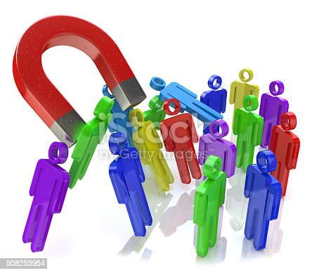 istock Social engineering concept: horseshoe magnet capturing crowd of 508253954