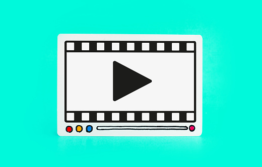 1125605742 istock photo Social entertainment and online marketing concepts with fram of video movie on colorful background.digital trending 1143760904