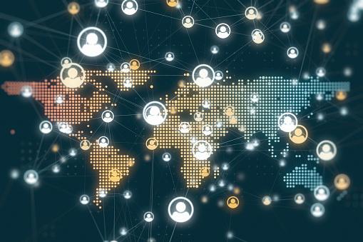 istock Social Global Network Backgrounds 1180204636