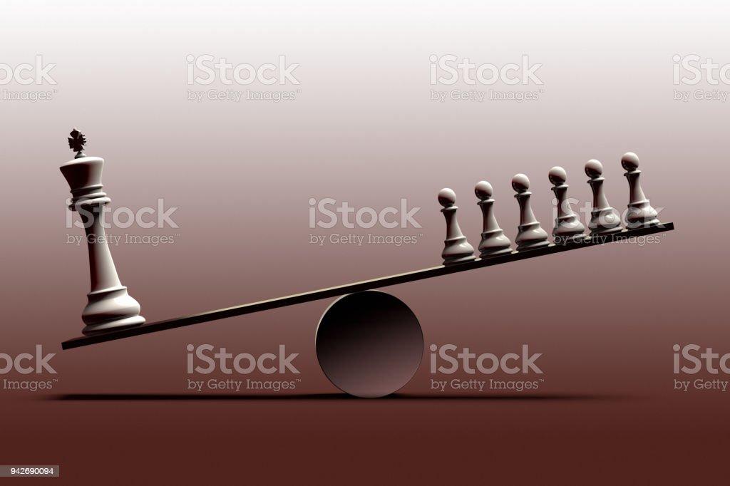 soziale Ungleichheit und das Ungleichgewicht zwischen den sozialen Schichten vertreten mit Schachfiguren – Foto
