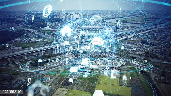 istock Social infrastructure and communication technology concept. IoT(Internet of Things). Autonomous transportation. 1054552102