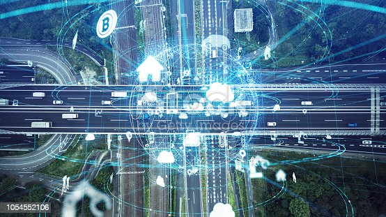 istock Social infrastructure and communication technology concept. IoT(Internet of Things). Autonomous transportation. 1054552106