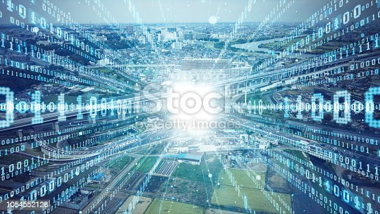 istock Social infrastructure and communication technology concept. IoT(Internet of Things). Autonomous transportation. 1054552128