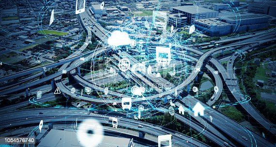 istock Social infrastructure and communication technology concept. IoT(Internet of Things). Autonomous transportation. 1054576740