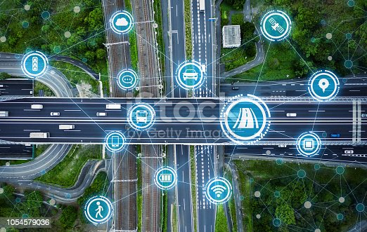 istock Social infrastructure and communication technology concept. IoT(Internet of Things). Autonomous transportation. 1054579036