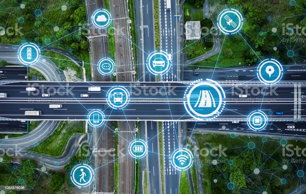 Social infrastructure and communication technology concept. IoT(Internet of Things). Autonomous transportation. stock photo