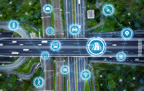 social infrastructure and communication technology concept. iot(internet of things). autonomous transportation. - struttura edile foto e immagini stock
