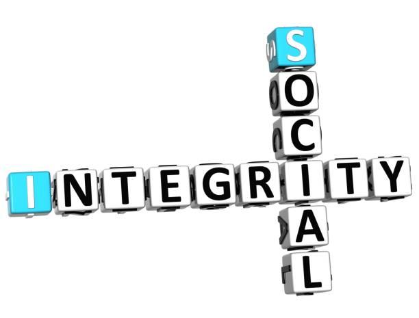 3d sozialen integrität kreuzworträtsel - kreuzworträtsel lexikon stock-fotos und bilder