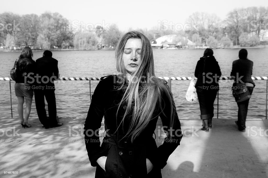 Social isolation - sad lonely unhappy woman royalty-free stock photo