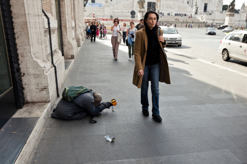Social Issues Woman Begging Money In Rome Stock Photo - Download Image Now