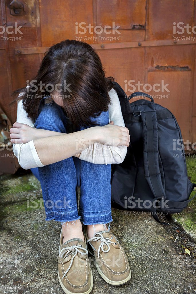 Social Issues:Scared and lonely runaway royalty-free stock photo