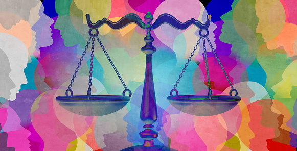 Social justice together as a crowd of diverse people with a law symbol representing community legislation and equal rights or legal lawyer icon with 3D illustration elements.