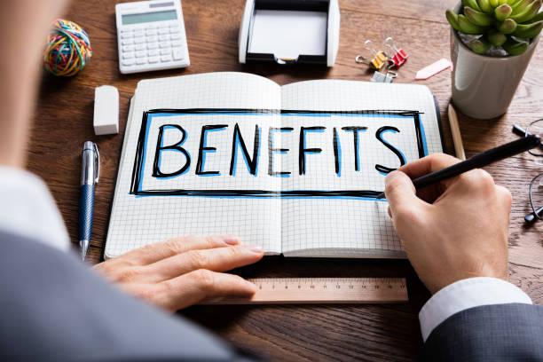 Social Man Drawing Social Security Benefits stock photo