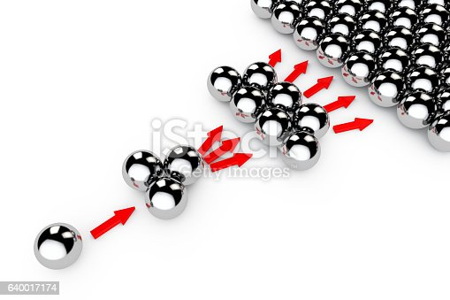 Social Marketing Concept. Chrome spheres with Arrows on a white background. 3d Rendering.