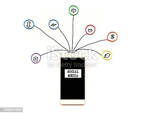 istock Social media and communication concept, the smartphone with rubber band with hand writing of social media icon on white background 1000054858