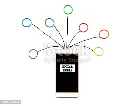 istock Social media and communication concept, the smartphone with rubber band with hand writing of social media icon on white background 1007300630